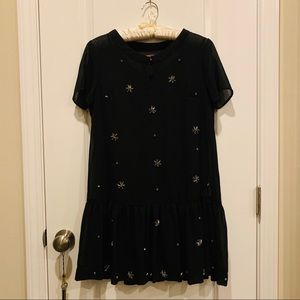 Black Mini Shift Dress with Crystal Gems and Slip